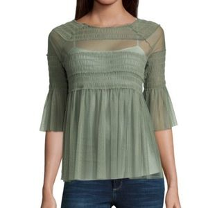 CLOSET CLEAR-OUT NWT Willow Green Mesh Blouse